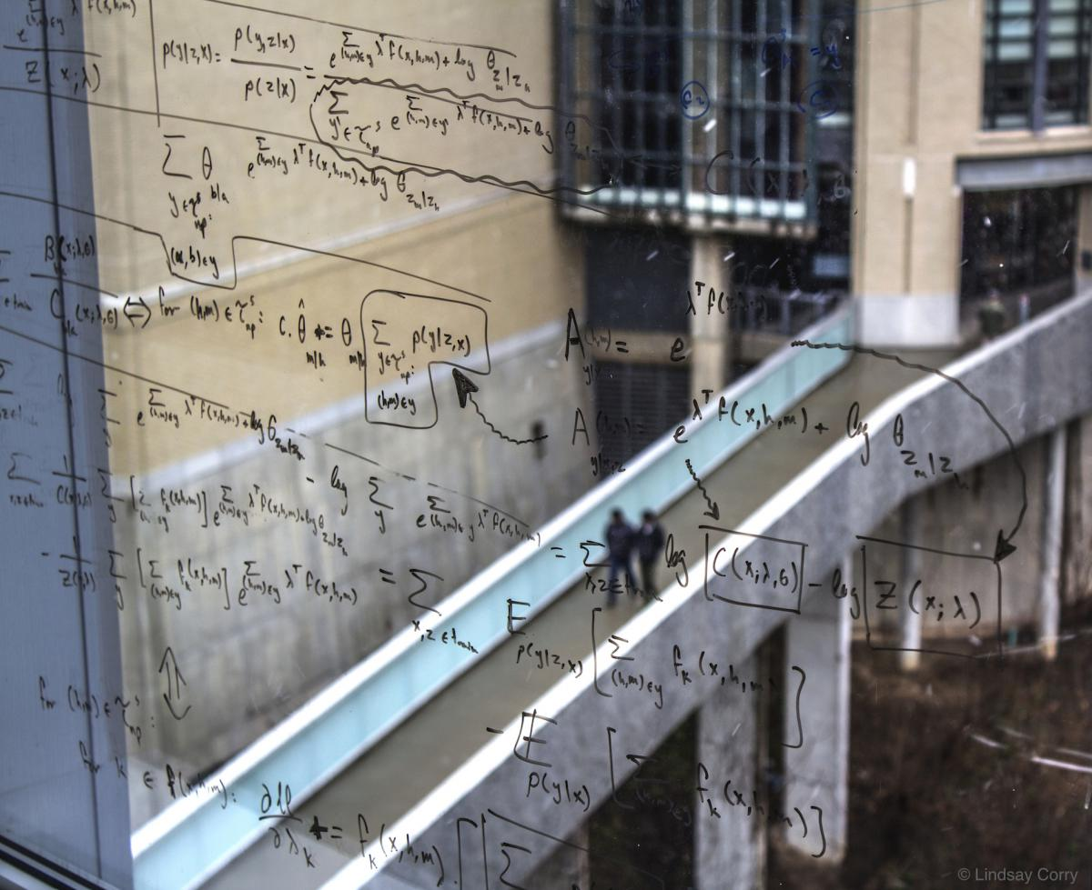 Writing on window overlooking Pausch Bridge CMU SCS - © Lindsay Corry